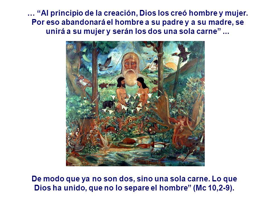 … Al principio de la creación, Dios los creó hombre y mujer. Por eso abandonará el hombre a su padre y a su madre, se unirá a su mujer y serán los dos