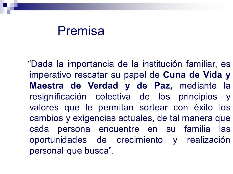 Premisa Dada la importancia de la institución familiar, es imperativo rescatar su papel de Cuna de Vida y Maestra de Verdad y de Paz, mediante la resi