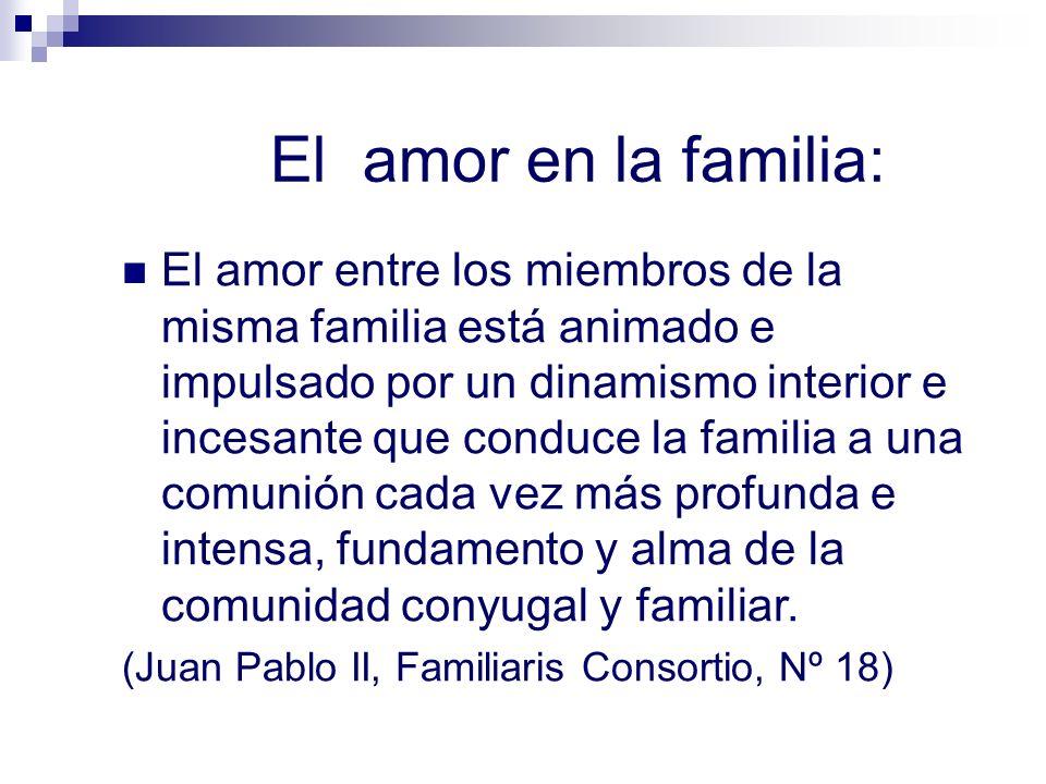 El amor en la familia: El amor entre los miembros de la misma familia está animado e impulsado por un dinamismo interior e incesante que conduce la fa