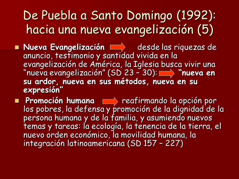 De Puebla a Santo Domingo (1992): hacia una nueva evangelización (5) Nueva Evangelización desde las riquezas de anuncio, testimonio y santidad vivida