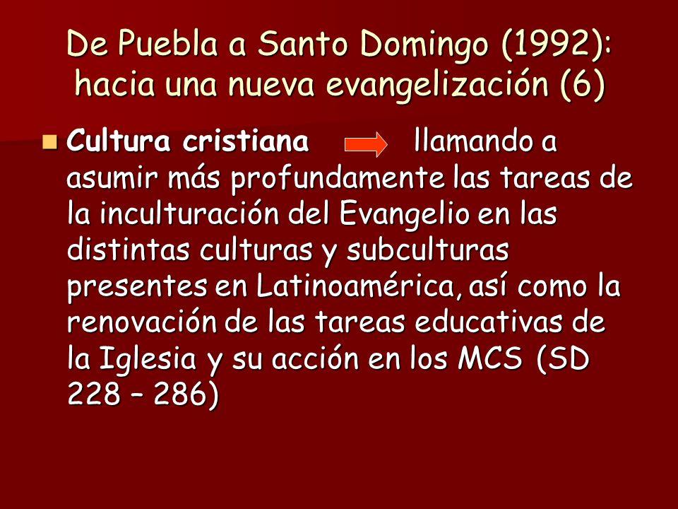 De Puebla a Santo Domingo (1992): hacia una nueva evangelización (6) Cultura cristiana llamando a asumir más profundamente las tareas de la inculturac