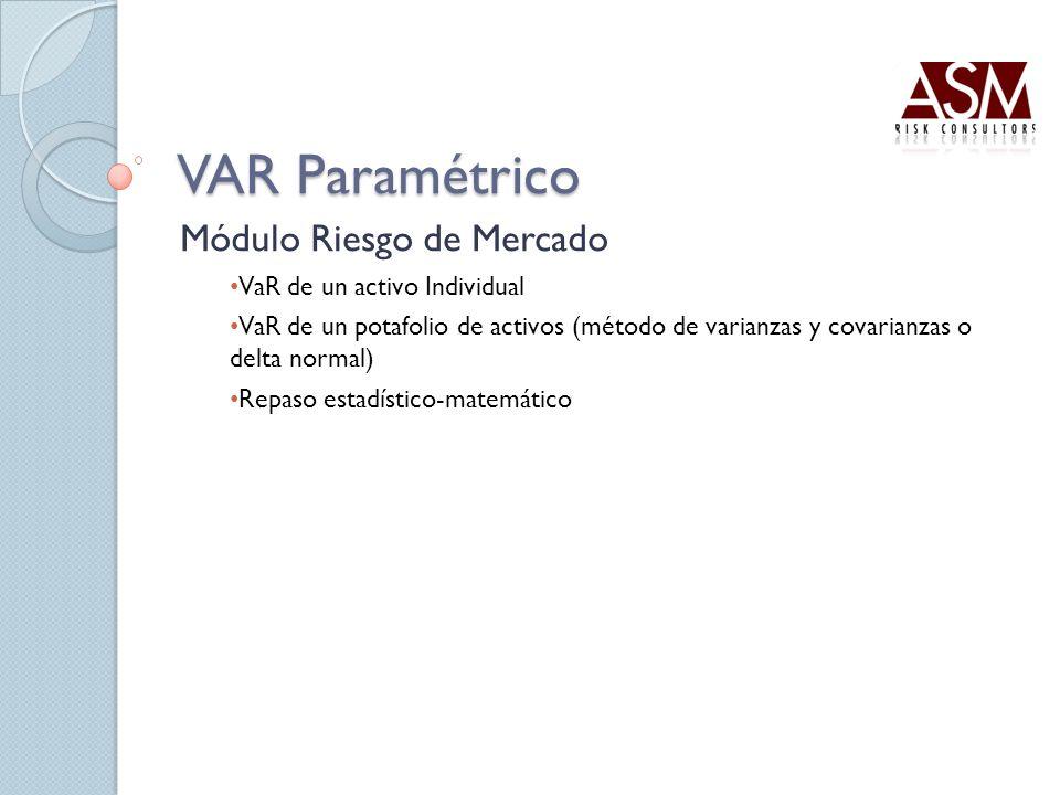 VAR Paramétrico Módulo Riesgo de Mercado VaR de un activo Individual VaR de un potafolio de activos (método de varianzas y covarianzas o delta normal)