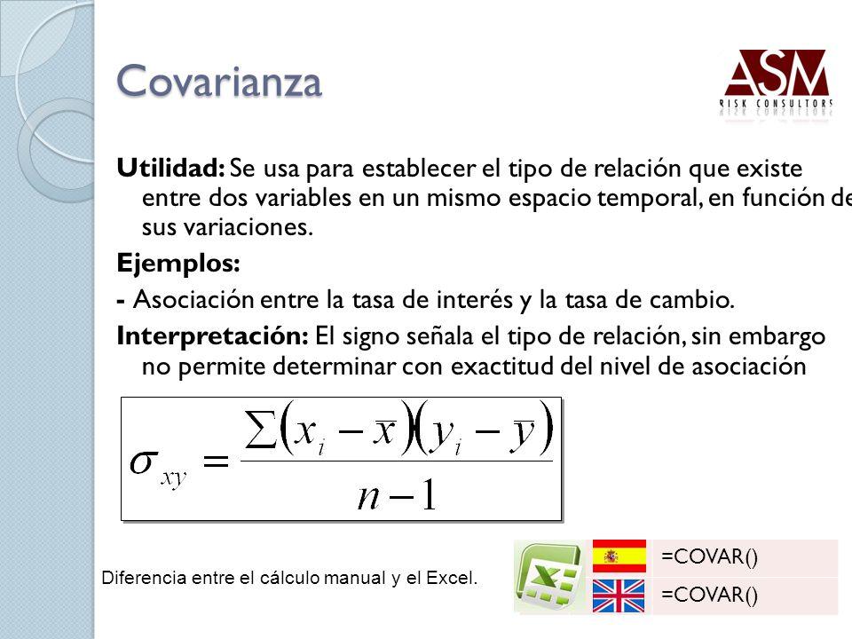 Covarianza Utilidad: Se usa para establecer el tipo de relación que existe entre dos variables en un mismo espacio temporal, en función de sus variaci