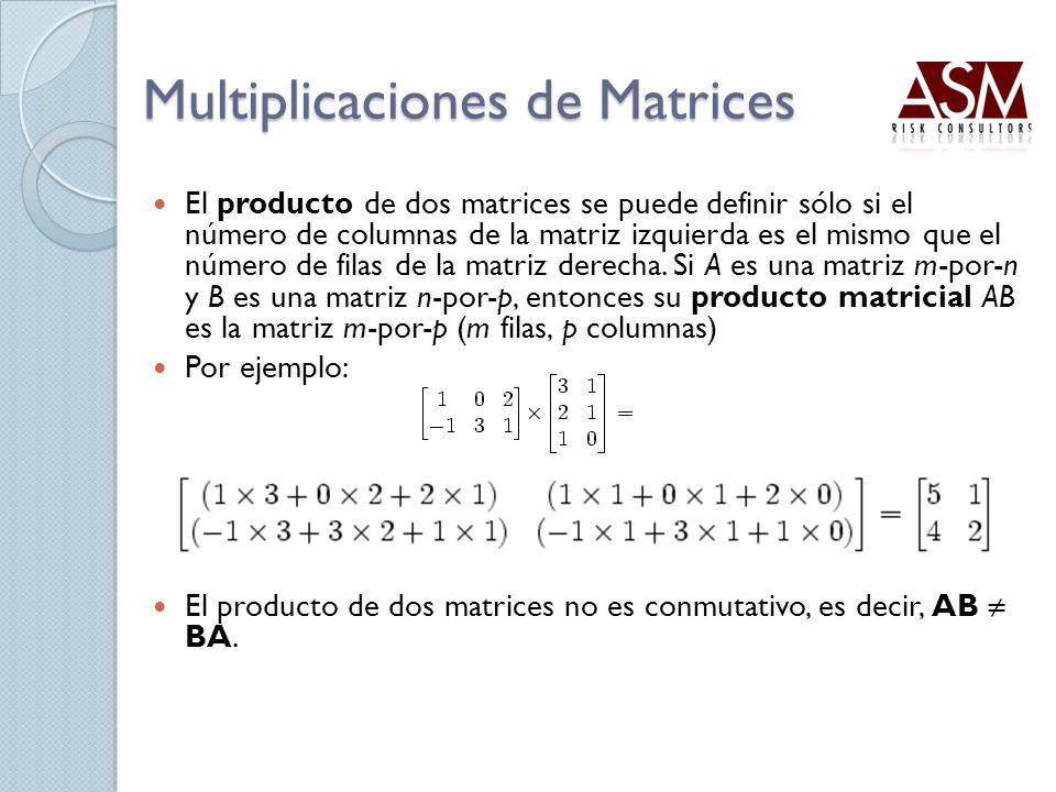 Multiplicaciones de Matrices El producto de dos matrices se puede definir sólo si el número de columnas de la matriz izquierda es el mismo que el núme