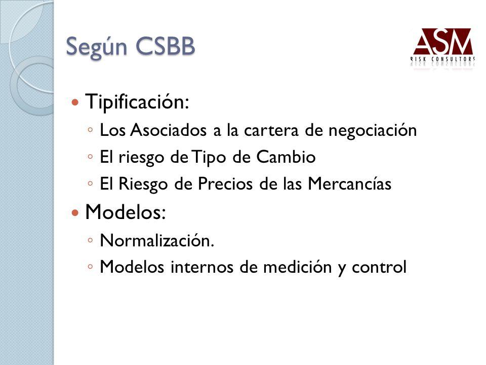 Según CSBB Tipificación: Los Asociados a la cartera de negociación El riesgo de Tipo de Cambio El Riesgo de Precios de las Mercancías Modelos: Normali