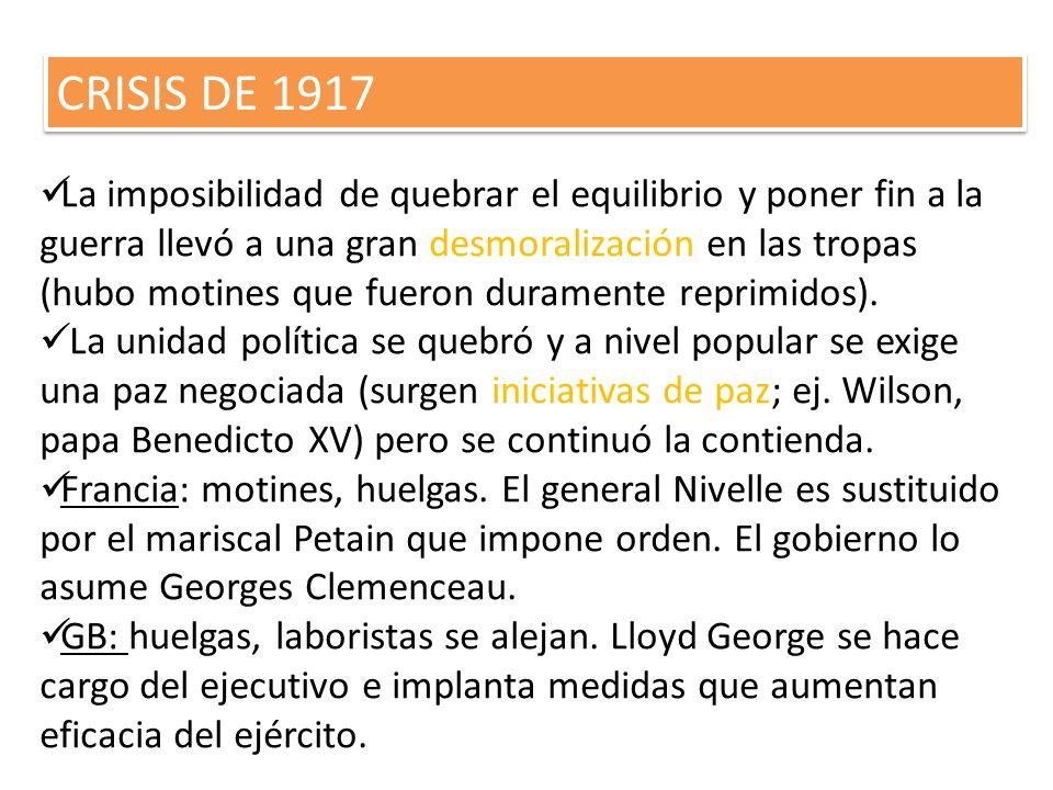 CRISIS DE 1917 La imposibilidad de quebrar el equilibrio y poner fin a la guerra llevó a una gran desmoralización en las tropas (hubo motines que fuer
