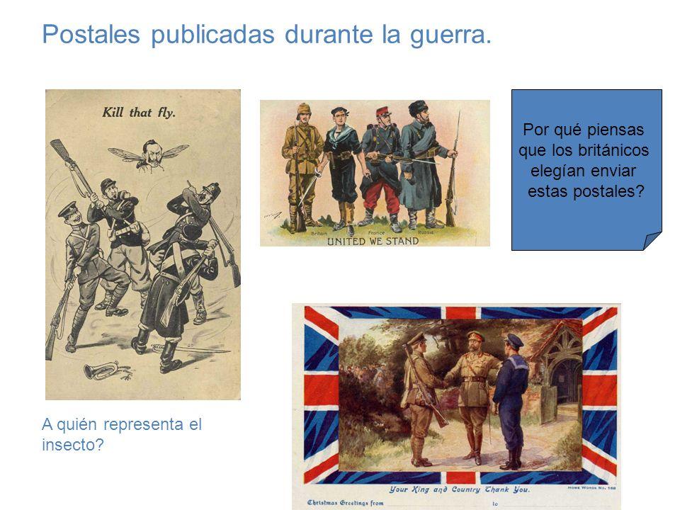Postales publicadas durante la guerra. A quién representa el insecto? Por qué piensas que los británicos elegían enviar estas postales?