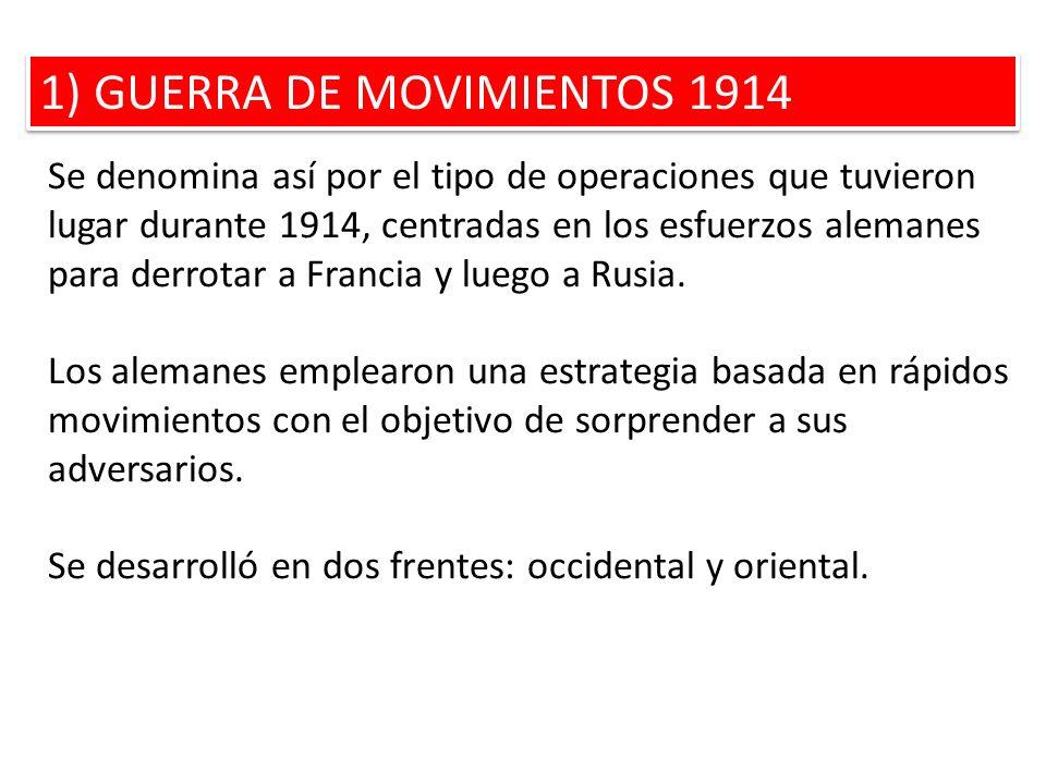 1) GUERRA DE MOVIMIENTOS 1914 Se denomina así por el tipo de operaciones que tuvieron lugar durante 1914, centradas en los esfuerzos alemanes para der