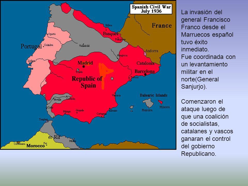 La invasión del general Francisco Franco desde el Marruecos español tuvo éxito inmediato. Fue coordinada con un levantamiento militar en el norte(Gene