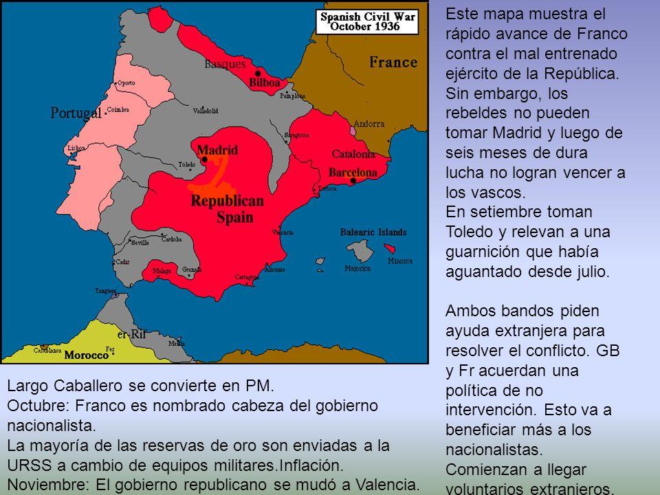 Este mapa muestra el rápido avance de Franco contra el mal entrenado ejército de la República. Sin embargo, los rebeldes no pueden tomar Madrid y lueg