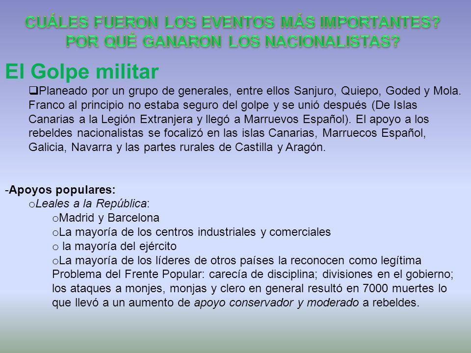 El Golpe militar Planeado por un grupo de generales, entre ellos Sanjuro, Quiepo, Goded y Mola. Franco al principio no estaba seguro del golpe y se un