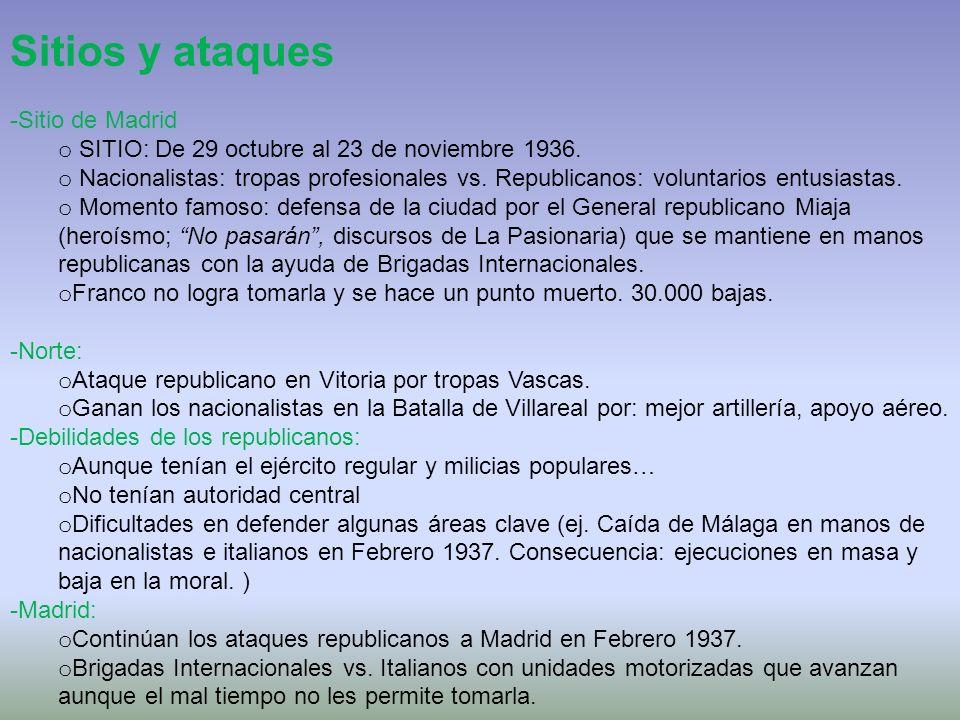 Sitios y ataques -Sitio de Madrid o SITIO: De 29 octubre al 23 de noviembre 1936. o Nacionalistas: tropas profesionales vs. Republicanos: voluntarios