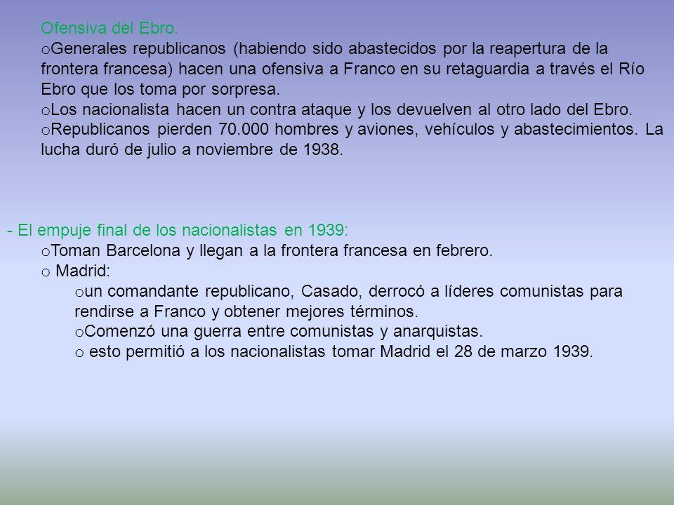 Ofensiva del Ebro. o Generales republicanos (habiendo sido abastecidos por la reapertura de la frontera francesa) hacen una ofensiva a Franco en su re