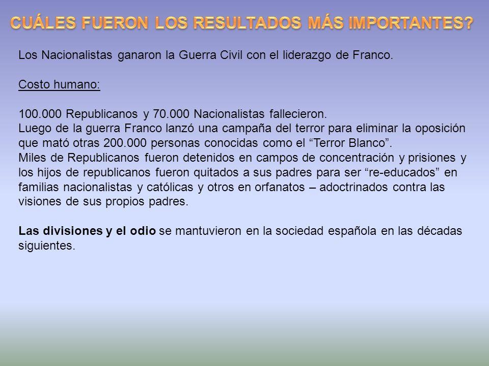 Los Nacionalistas ganaron la Guerra Civil con el liderazgo de Franco. Costo humano: 100.000 Republicanos y 70.000 Nacionalistas fallecieron. Luego de