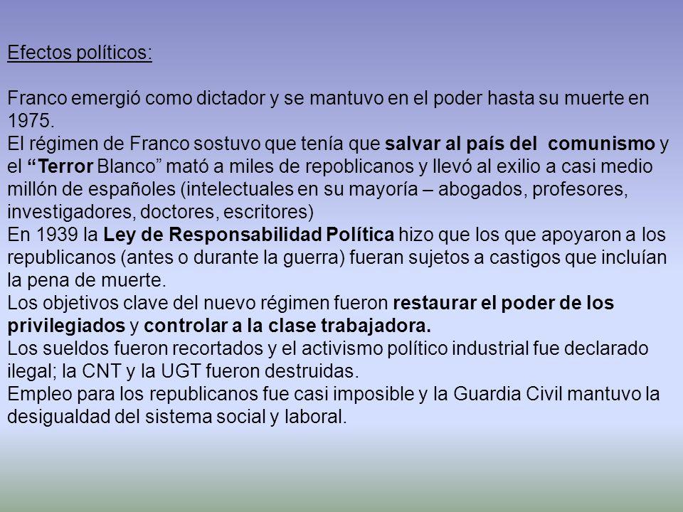 Efectos políticos: Franco emergió como dictador y se mantuvo en el poder hasta su muerte en 1975. El régimen de Franco sostuvo que tenía que salvar al