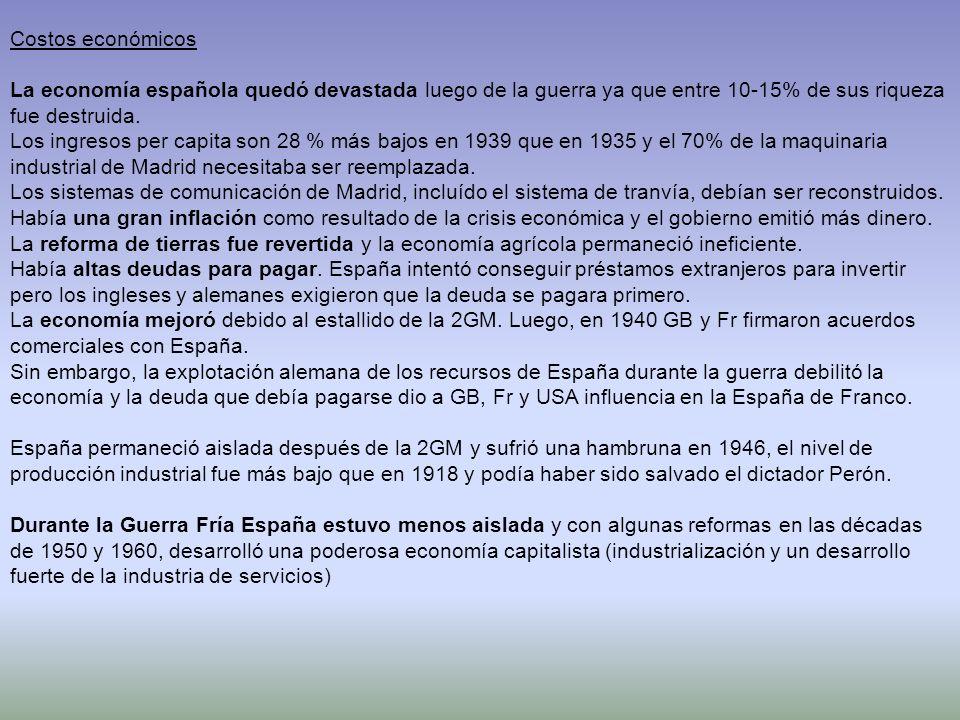 Costos económicos La economía española quedó devastada luego de la guerra ya que entre 10-15% de sus riqueza fue destruida. Los ingresos per capita so