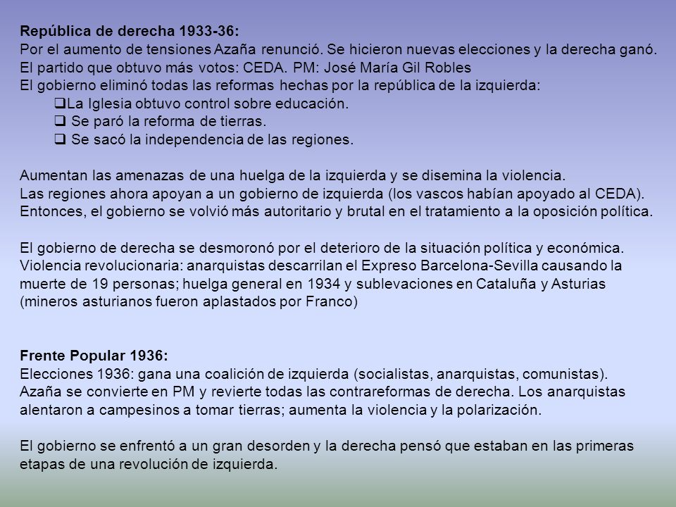 En el extranjero: USSR: Communist had been defeated in Spain and Stalin s small contribution to the Republican cause resulted in divisions within the left wing and Soviet lost a lot of intellectual sympathy in the West.