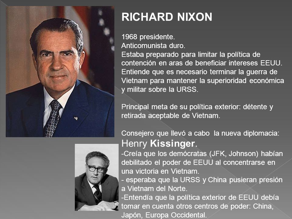RICHARD NIXON 1968 presidente.Anticomunista duro.