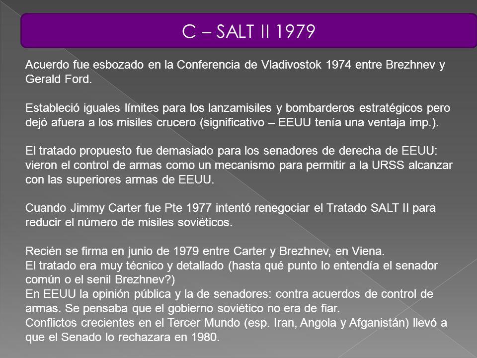 C – SALT II 1979 Acuerdo fue esbozado en la Conferencia de Vladivostok 1974 entre Brezhnev y Gerald Ford. Estableció iguales límites para los lanzamis