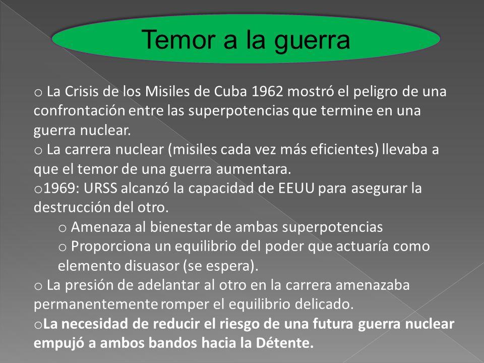 Temor a la guerra o La Crisis de los Misiles de Cuba 1962 mostró el peligro de una confrontación entre las superpotencias que termine en una guerra nu