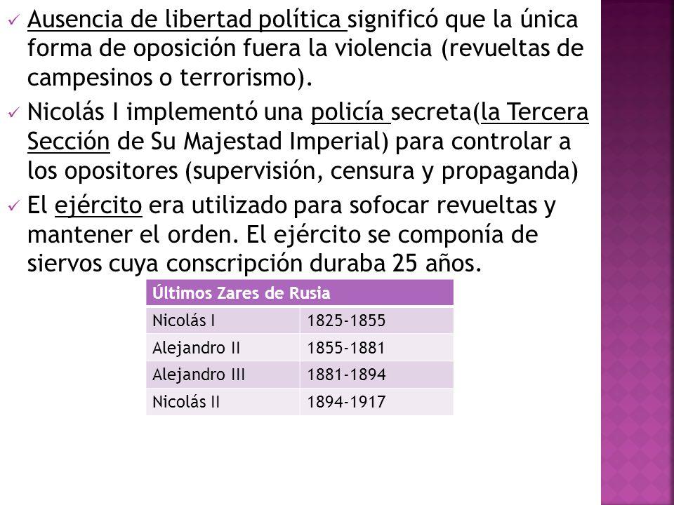 Ausencia de libertad política significó que la única forma de oposición fuera la violencia (revueltas de campesinos o terrorismo). Nicolás I implement
