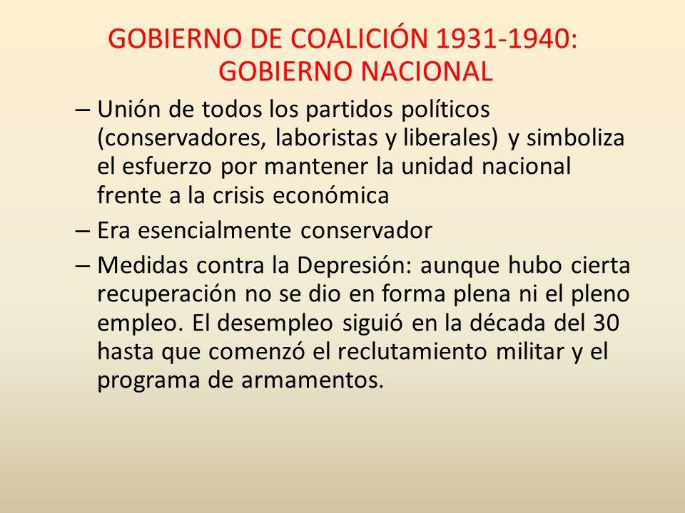 GOBIERNO DE COALICIÓN 1931-1940: GOBIERNO NACIONAL – Unión de todos los partidos políticos (conservadores, laboristas y liberales) y simboliza el esfu