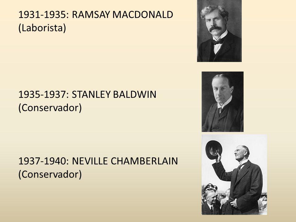 1931-1935: RAMSAY MACDONALD (Laborista) 1935-1937: STANLEY BALDWIN (Conservador) 1937-1940: NEVILLE CHAMBERLAIN (Conservador)