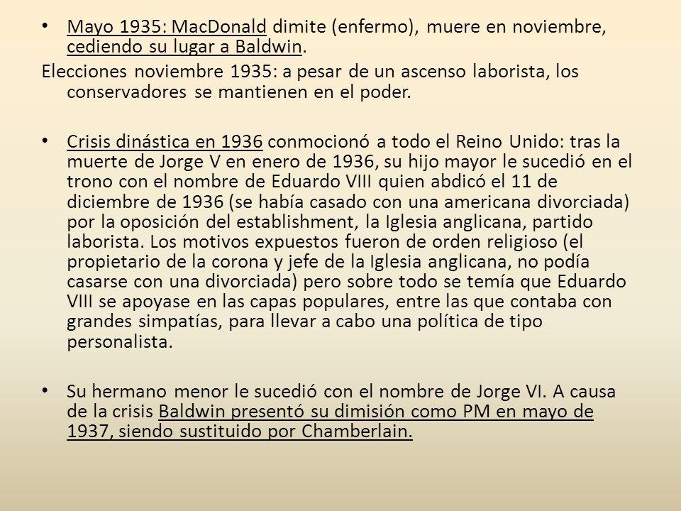 Mayo 1935: MacDonald dimite (enfermo), muere en noviembre, cediendo su lugar a Baldwin. Elecciones noviembre 1935: a pesar de un ascenso laborista, lo