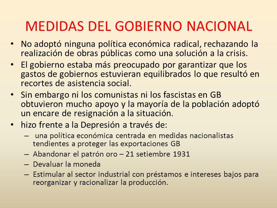 MEDIDAS DEL GOBIERNO NACIONAL No adoptó ninguna política económica radical, rechazando la realización de obras públicas como una solución a la crisis.