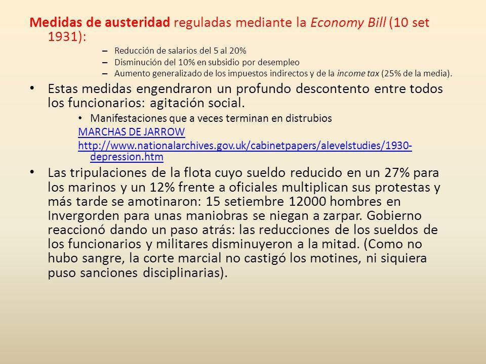 Medidas de austeridad reguladas mediante la Economy Bill (10 set 1931): – Reducción de salarios del 5 al 20% – Disminución del 10% en subsidio por des
