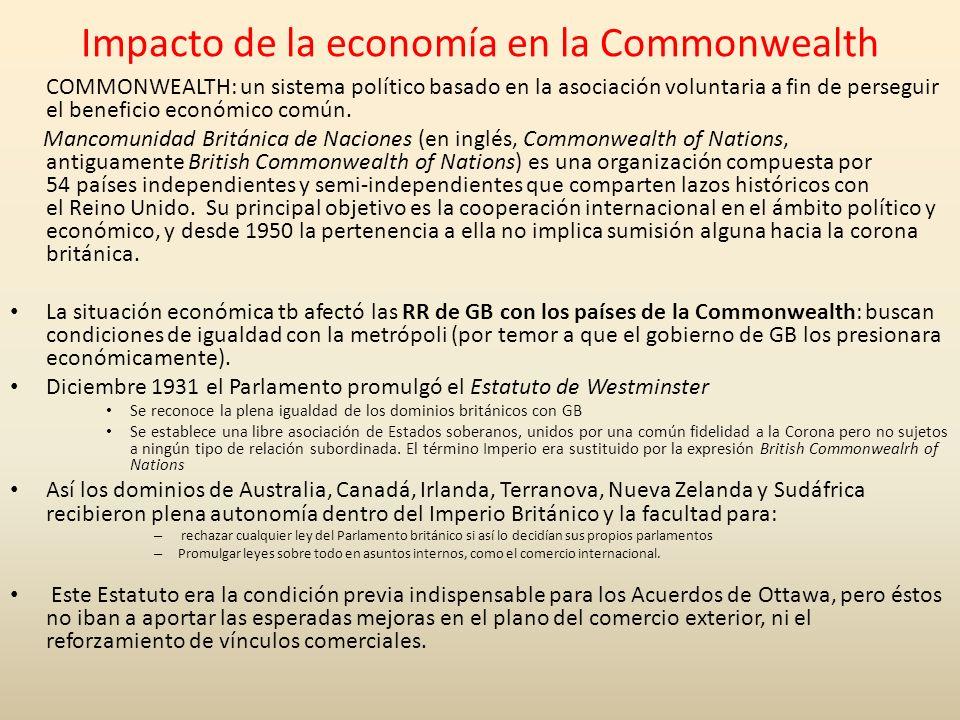 Impacto de la economía en la Commonwealth COMMONWEALTH: un sistema político basado en la asociación voluntaria a fin de perseguir el beneficio económi