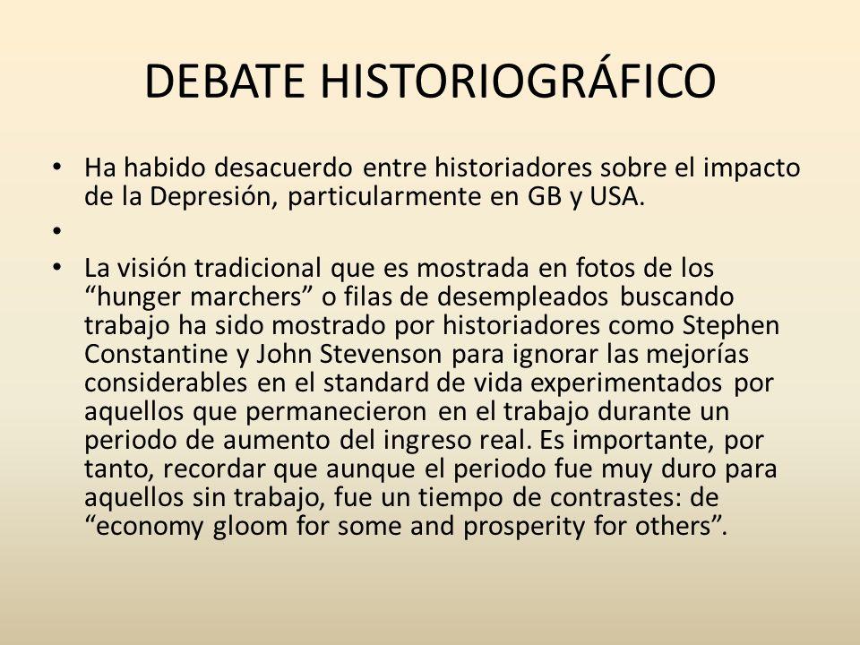 DEBATE HISTORIOGRÁFICO Ha habido desacuerdo entre historiadores sobre el impacto de la Depresión, particularmente en GB y USA. La visión tradicional q