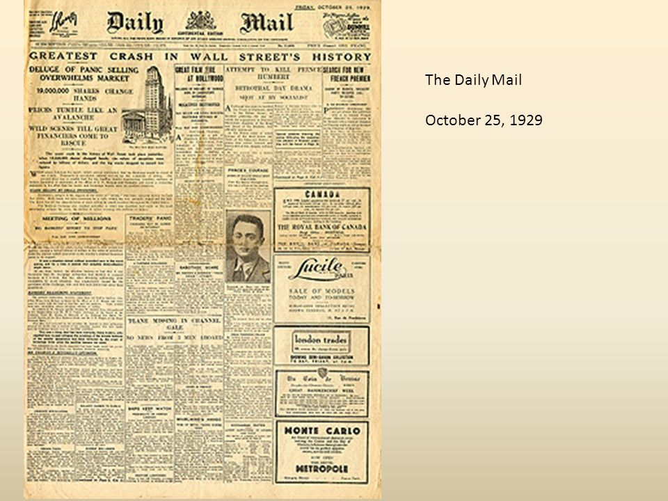 The Daily Mail October 25, 1929