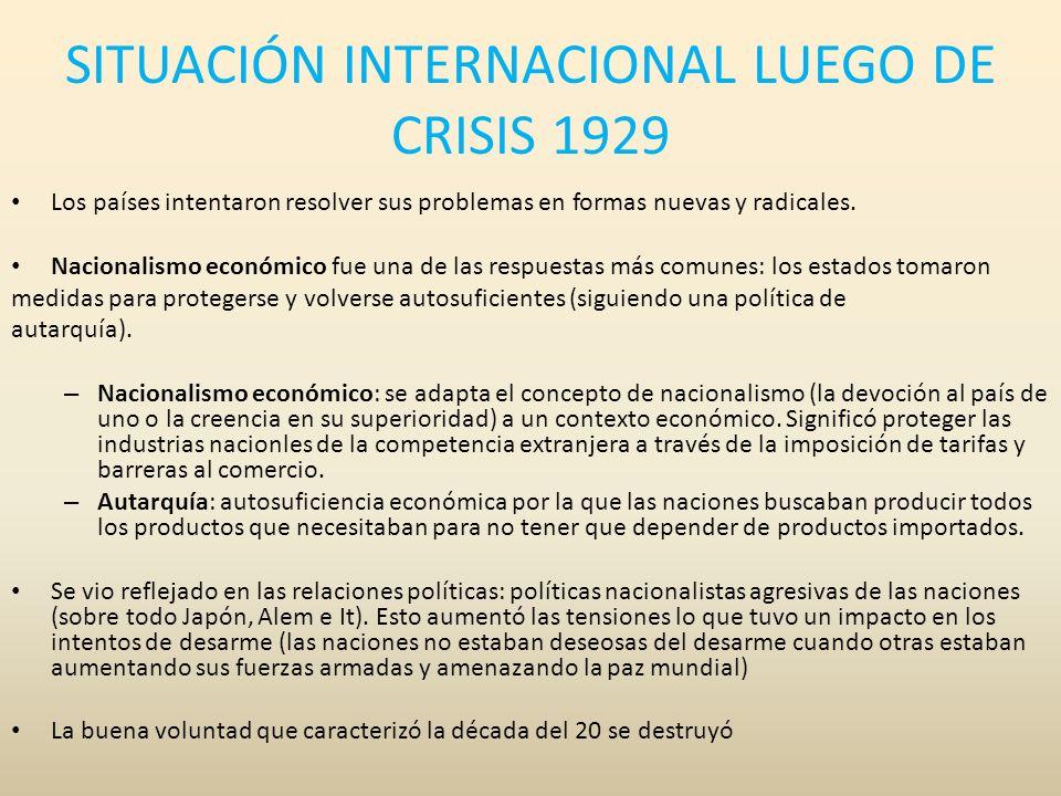 SITUACIÓN INTERNACIONAL LUEGO DE CRISIS 1929 Los países intentaron resolver sus problemas en formas nuevas y radicales. Nacionalismo económico fue una