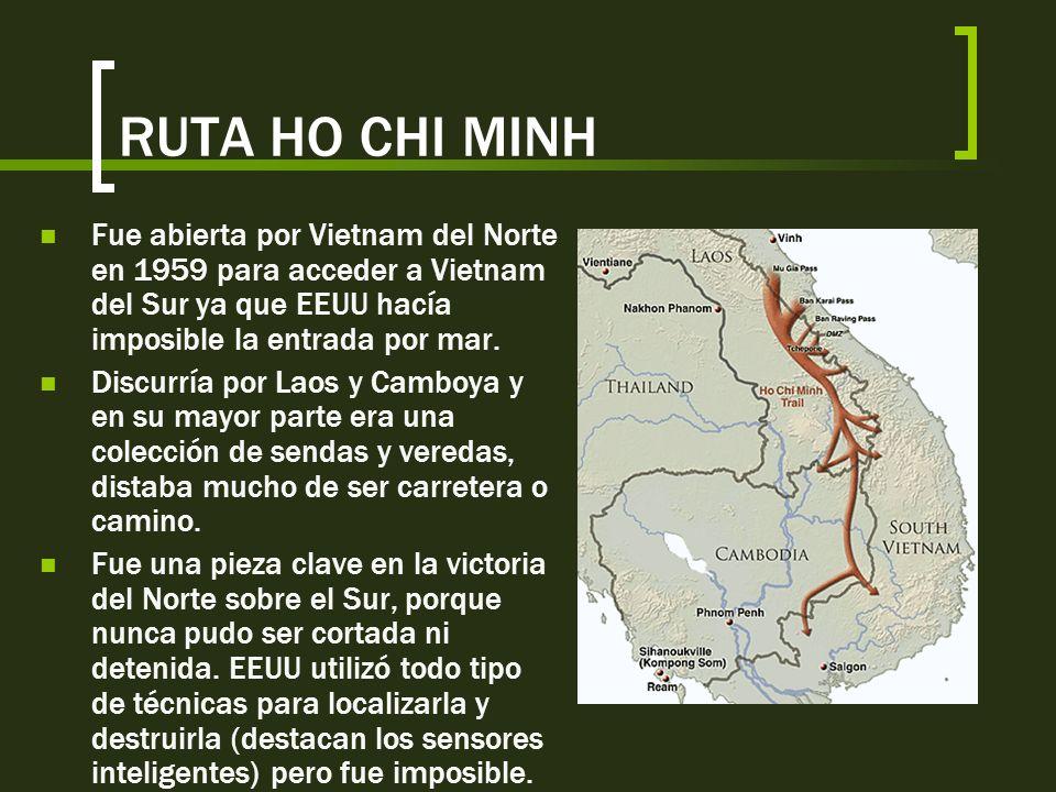 Estrategias utilizadas por Vietcong GUERRA DE GUERRILLAS Para agotar a soldados enemigos y quebrar su moral No tienen uniforme (se mezlcan con campesi