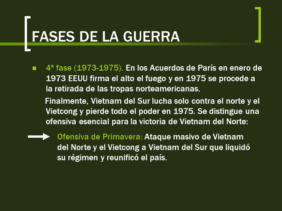 FASES DE LA GUERRA Durante esta 3ª fase se realizan dos ofensivas a destacar: Ofensiva del Tet, 1968: Victoria militar de EEUU y Vietnam del Sur luego