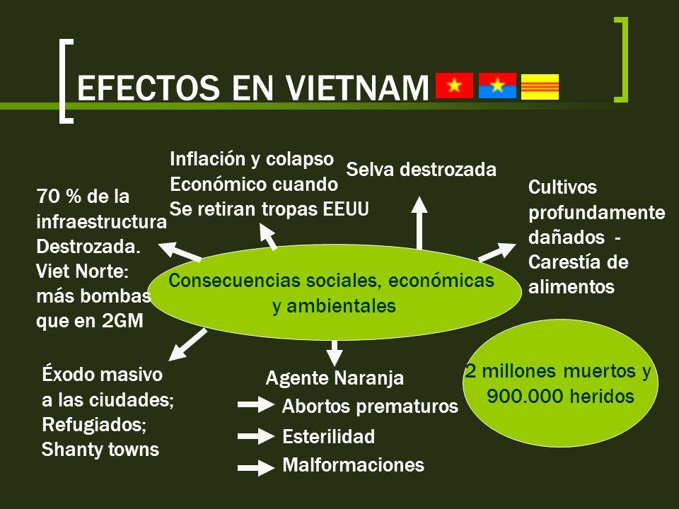 EFECTOS EN VIETNAM Consecuencias políticas Reunificación del país bajo el régimen comunista