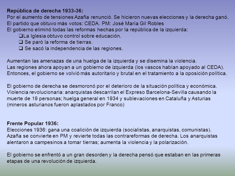 República de derecha 1933-36: Por el aumento de tensiones Azaña renunció. Se hicieron nuevas elecciones y la derecha ganó. El partido que obtuvo más v
