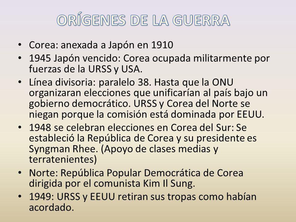 Corea: anexada a Japón en 1910 1945 Japón vencido: Corea ocupada militarmente por fuerzas de la URSS y USA. Línea divisoria: paralelo 38. Hasta que la