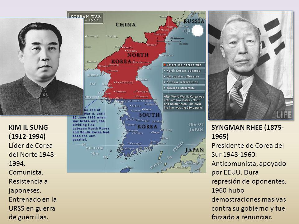 KIM IL SUNG (1912-1994) Líder de Corea del Norte 1948- 1994. Comunista. Resistencia a japoneses. Entrenado en la URSS en guerra de guerrillas. SYNGMAN