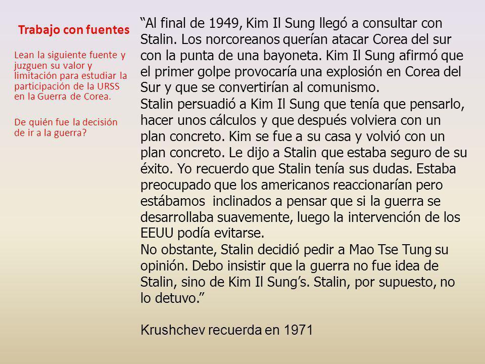 INTERVIENE DOS DÍAS DESPUÉS (27 DE JUNIO 1950) En 1949 China es comunista y se alinea con URSS Además URSS tiene la bomba atómica EEUU intensifica su política de contención en lo interno (MacCarthy)y externo lo extiende a Asia.