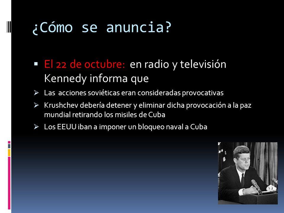 ¿Qué se decide? El 18/ 20 se decide: Implantar un bloqueo naval, una zona de cuarentena alrededor de Cuba Si cualquier barco soviético entra en la zon