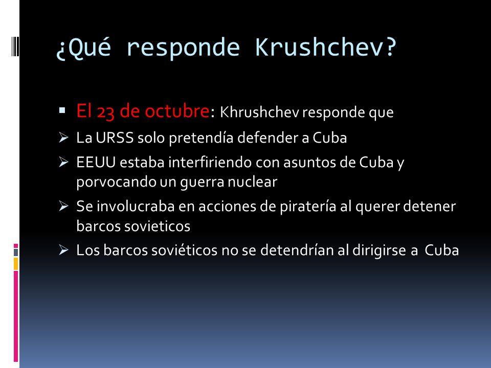 ¿Cómo se anuncia? El 22 de octubre: en radio y televisión Kennedy informa que Las acciones soviéticas eran consideradas provocativas Krushchev debería