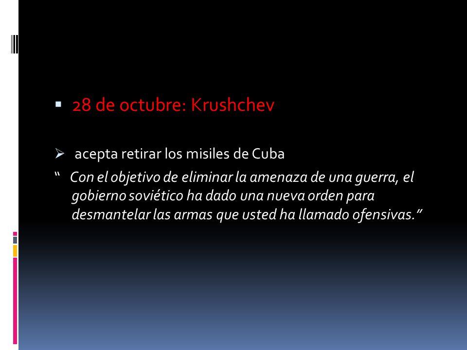 El 27 de octubre Khrushchev envía una segunda carta agregando una tercera condición: que los EEUU retiraran los misiles de Turquía. Kennedy no lo admi