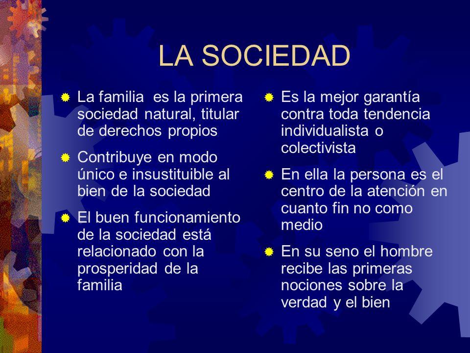 LA SOCIEDAD La familia es la primera sociedad natural, titular de derechos propios Contribuye en modo único e insustituible al bien de la sociedad El