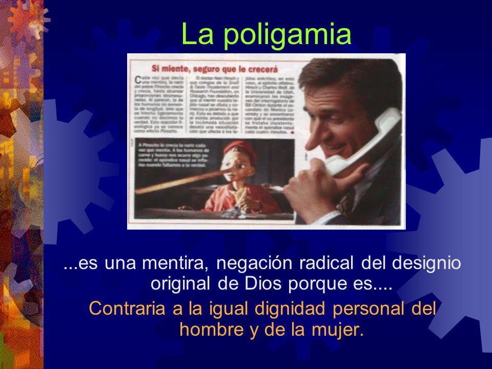 La poligamia...es una mentira, negación radical del designio original de Dios porque es.... Contraria a la igual dignidad personal del hombre y de la