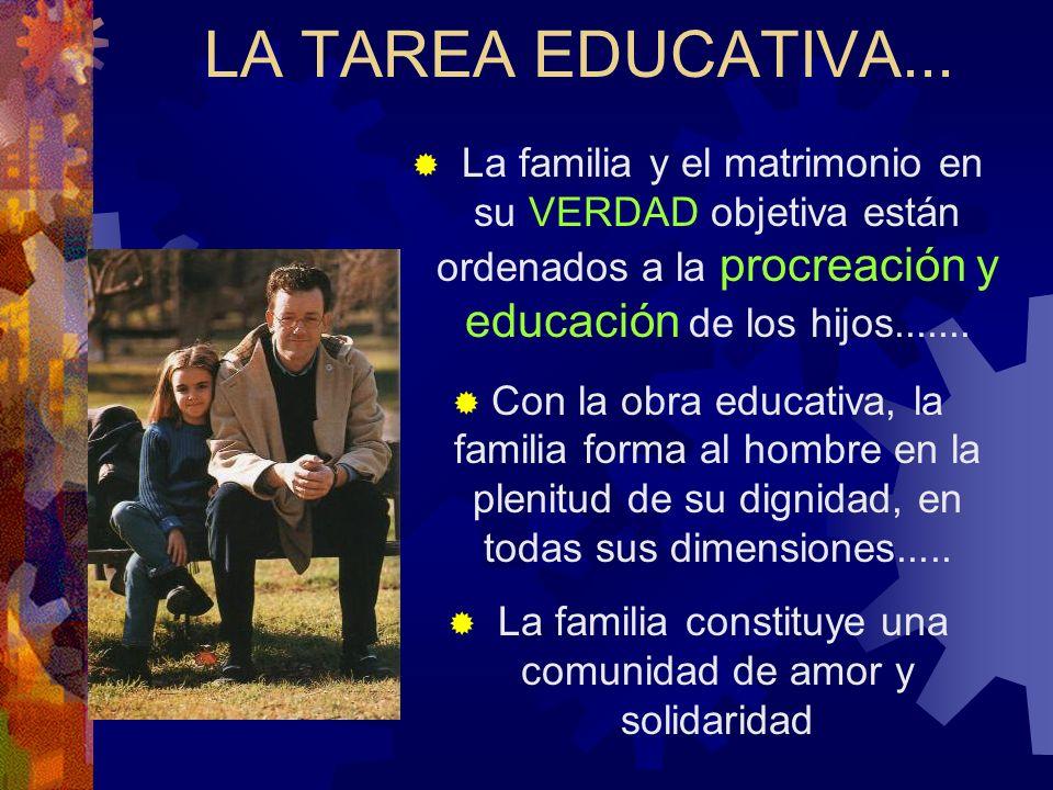 LA TAREA EDUCATIVA... La familia y el matrimonio en su VERDAD objetiva están ordenados a la procreación y educación de los hijos....... Con la obra ed
