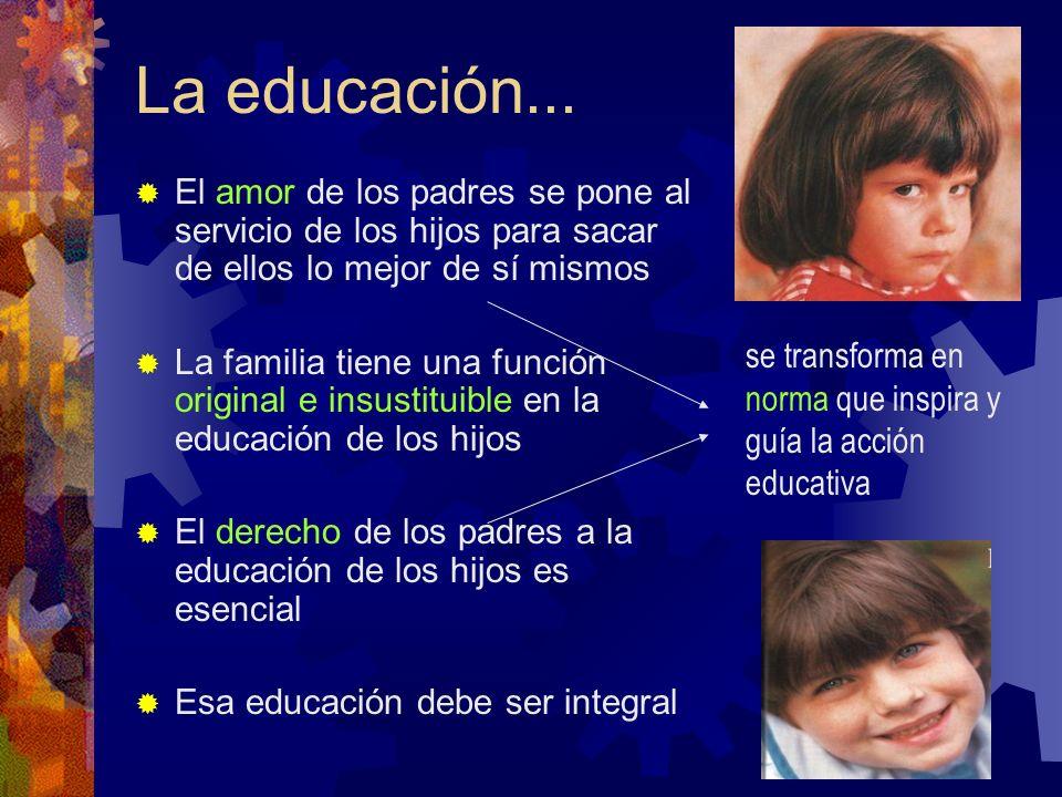 La educación... El amor de los padres se pone al servicio de los hijos para sacar de ellos lo mejor de sí mismos La familia tiene una función original