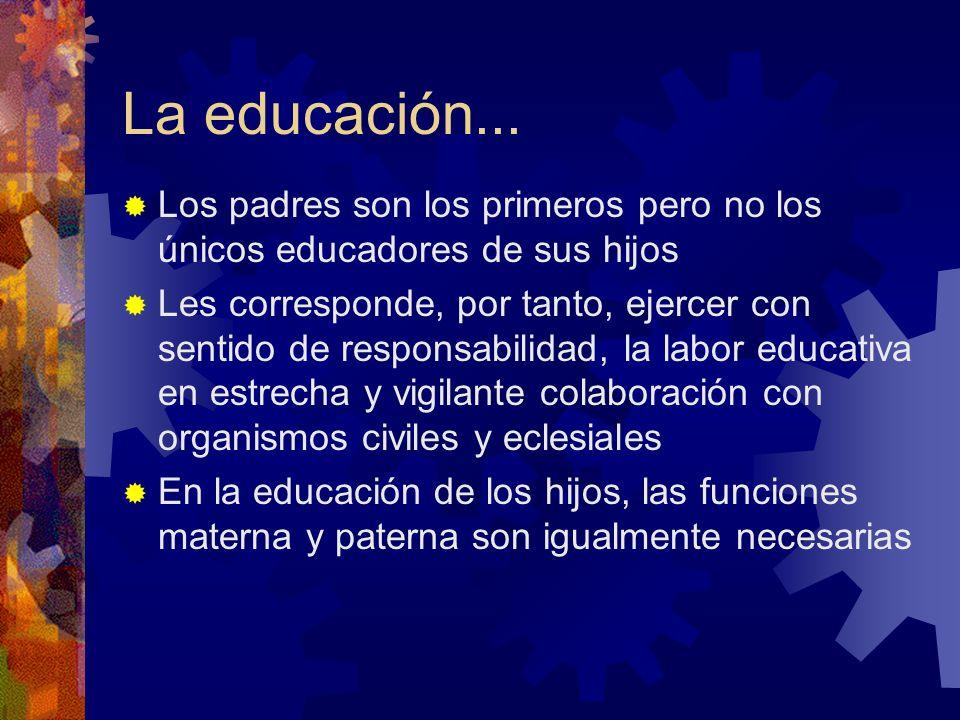 La educación... Los padres son los primeros pero no los únicos educadores de sus hijos Les corresponde, por tanto, ejercer con sentido de responsabili