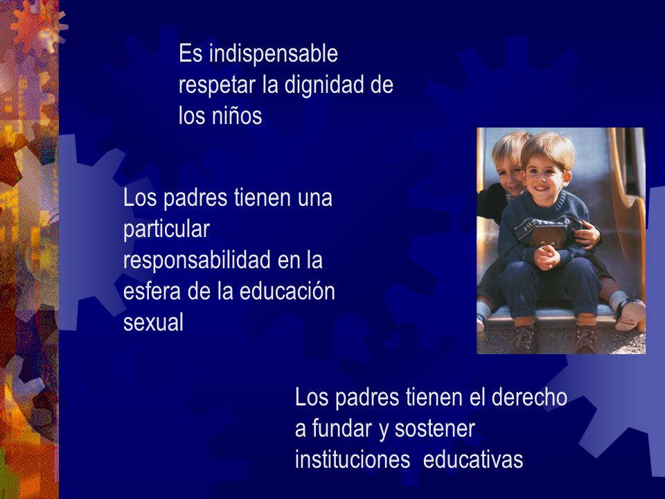 Los padres tienen una particular responsabilidad en la esfera de la educación sexual Es indispensable respetar la dignidad de los niños Los padres tie